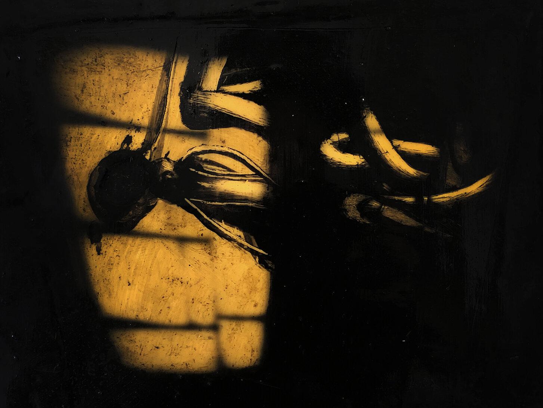 Virgilio Rospigliosi. Riflesso su finestra (Archetipi Psichici Visivi). 1996©. Cm 25x29, acrilico e bitume su alluminio.jpg