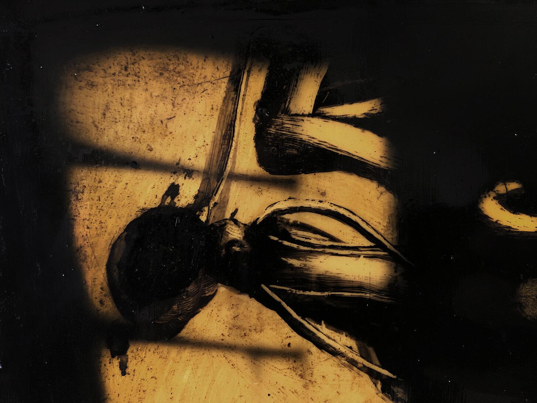 Virgilio Rospigliosi. Riflesso su finestra (Archetipi Psichici Visivi). 1996©. Cm 25x29, acrilico e bitume su alluminio. Dettaglioi.jpg