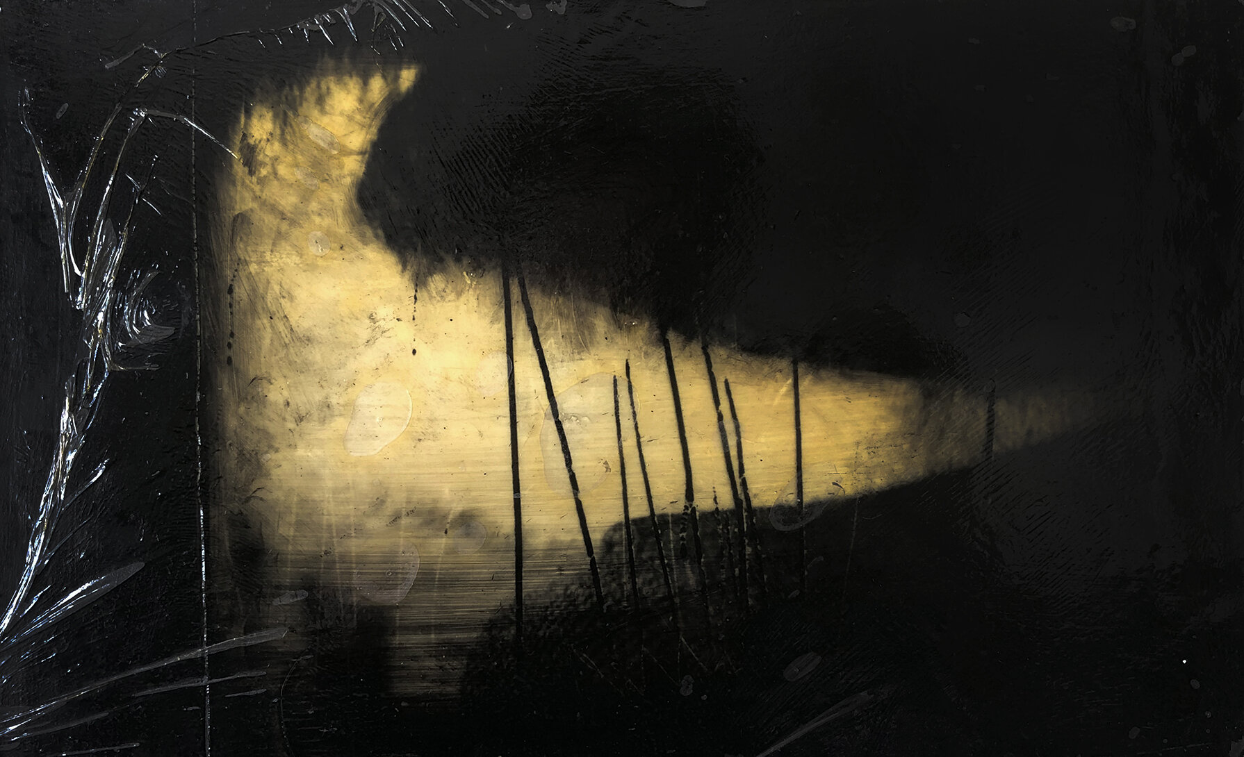 Virgilio Rospigliosi. Colomba in un canneto (Archetipi Psichici Visivi). 1995©. Cm 16x20, acrilico, cera e nylon su alluminio.jpg