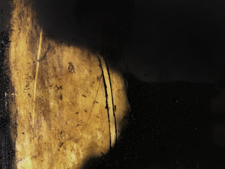Virgilio Rospigliosi. Ombra portata (Archetipi Psichici Visivi). 1995©. Cm 25x30, acrilico e bitume su alluminio. Dettaglio.jpg