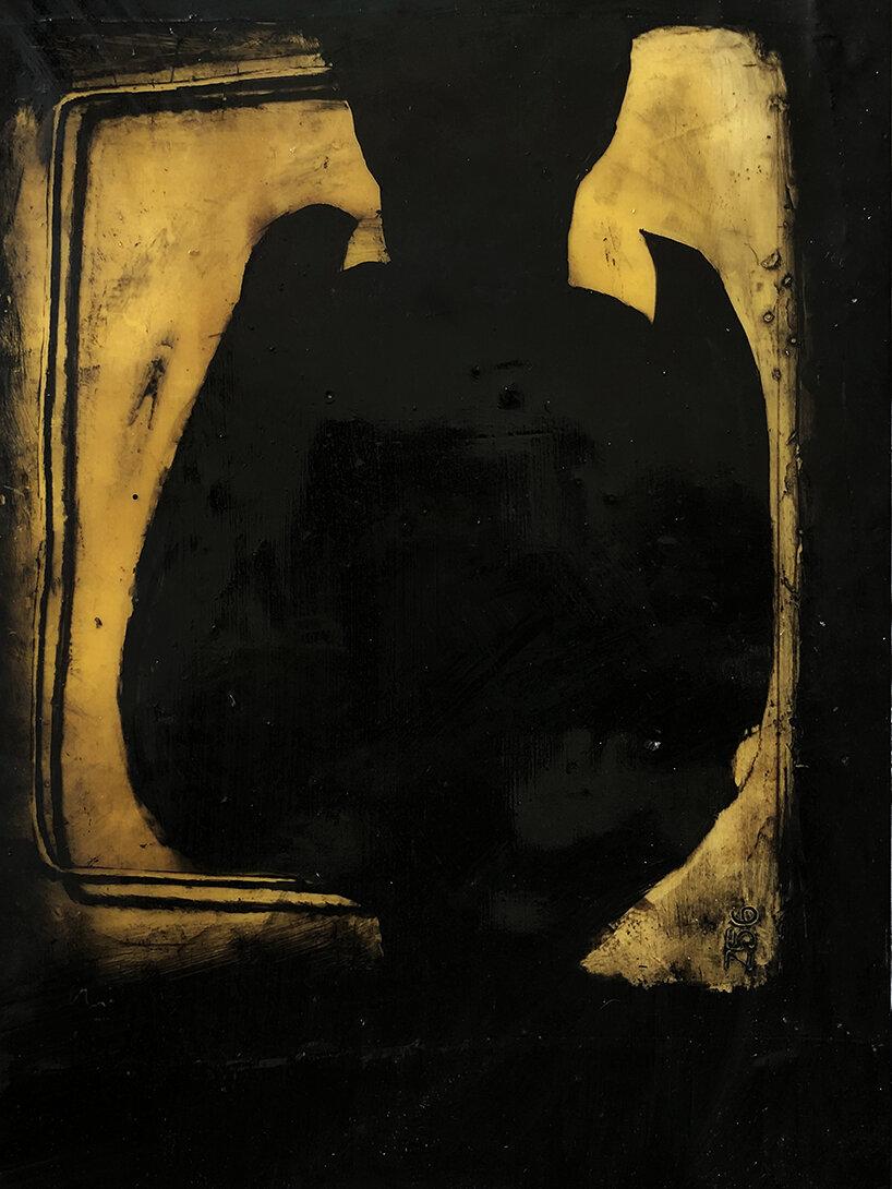 Virgilio Rospigliosi. Studio per casalinga (Archetipi Psichici Visivi). 1996©. Cm 20x17, acrilico e cera su alluminio.jpg