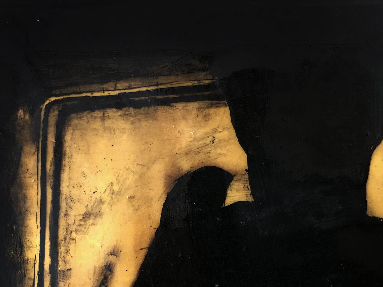 Virgilio Rospigliosi. Studio per casalinga (Archetipi Psichici Visivi). 1996©. Cm 20x17, acrilico e cera su alluminio. Dettaglio.jpg