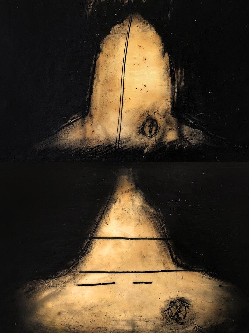 Virgilio Rospigliosi. Studio anatomico (Archetipi Psichici Visivi). 1995©. Cm 30x20, acrilico e bitume su alluminio.jpg