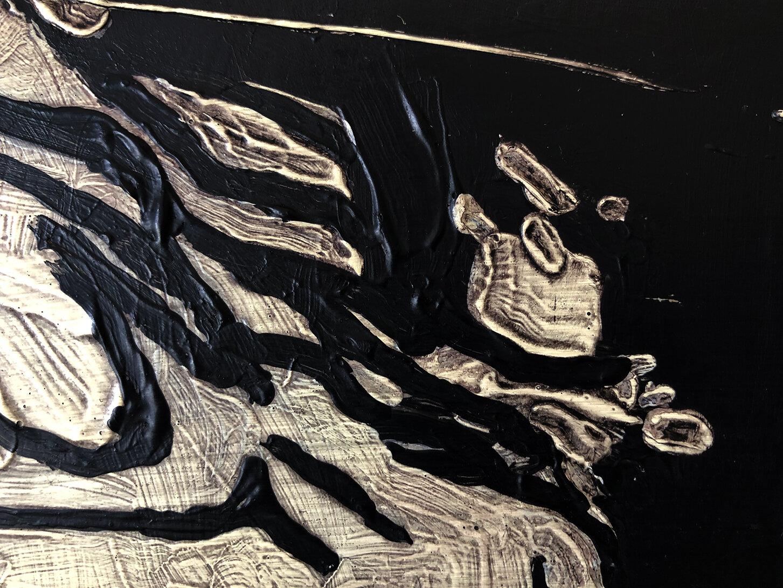 Virgilio Rospigliosi. Metallo che gira intorno (Archetipi Psichici Visivi). 1997©. Cm 40x40, acrilico su cartone. Dettaglio.jpg
