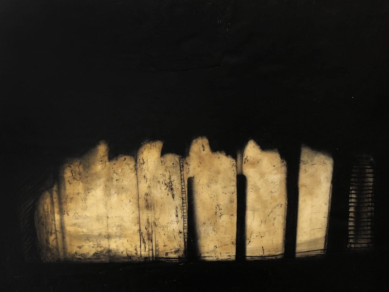 Virgilio Rospigliosi. Montagna sacra (Archetipi Psichici Visivi). 1997©. Cm 30x40, acrilico e cera su alluminio.jpg