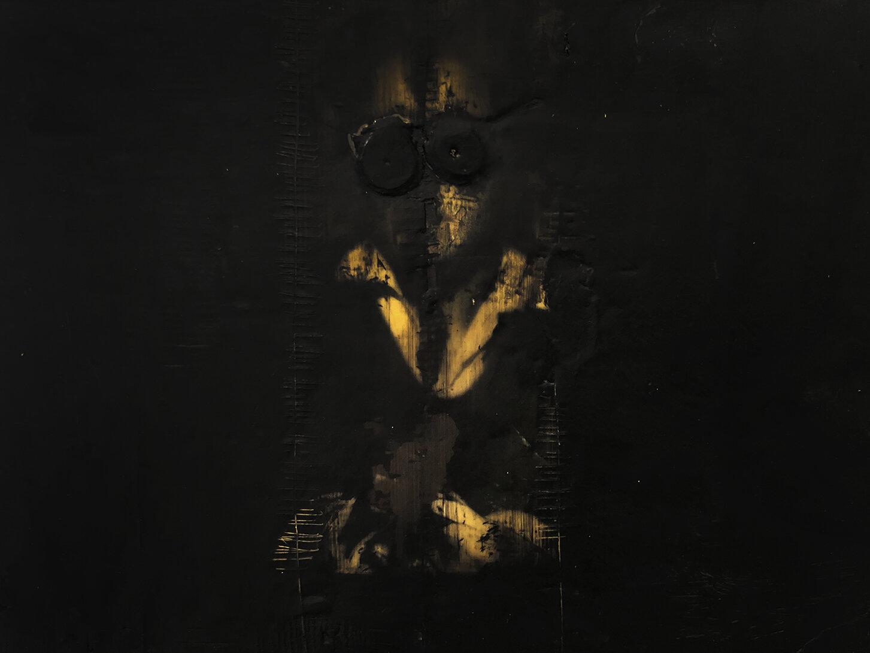 Virgilio Rospigliosi. Ritratto di giovane seduta (Archetipi Psichici Visivi). 1997©. Acrilico e cera su carta fotografica applicata ad alluminio.jpg