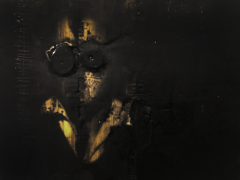 Virgilio Rospigliosi. Ritratto di giovane seduta (Archetipi Psichici Visivi). 1997©. Acrilico e cera su carta fotografica applicata ad alluminio. Dettaglio.jpg