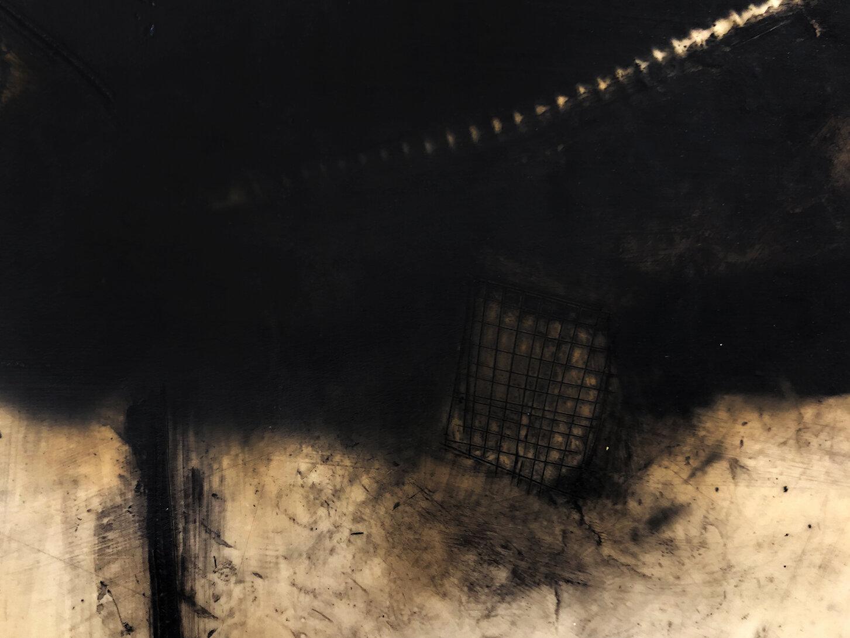 Virgilio Rospigliosi. Struttura metallica (Archetipi Psichici Visivi). 1996©. Cm 35x80, acrilico e cera su alluminio. Dettaglio 1.jpg