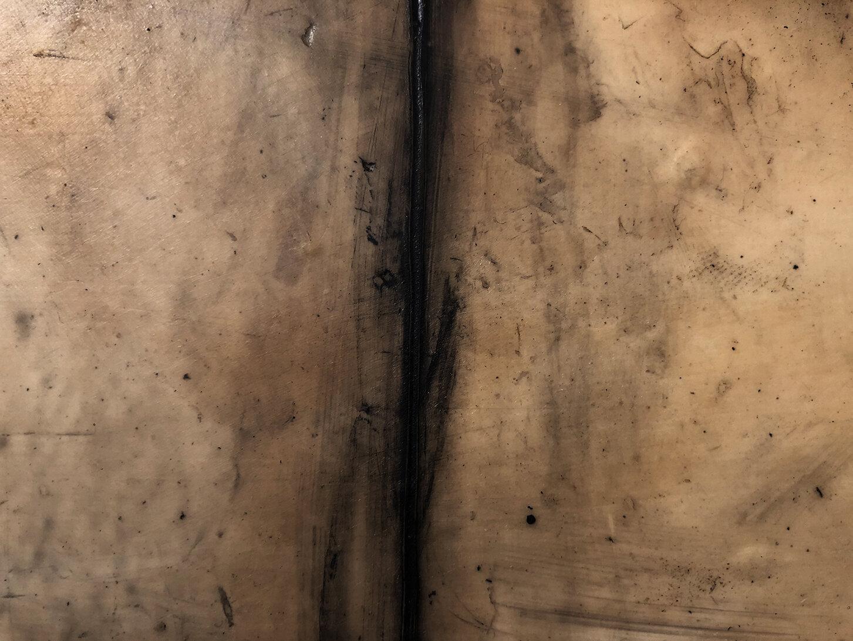 Virgilio Rospigliosi. Struttura metallica (Archetipi Psichici Visivi). 1996©. Cm 35x80, acrilico e cera su alluminio. Dettaglio 2.jpg