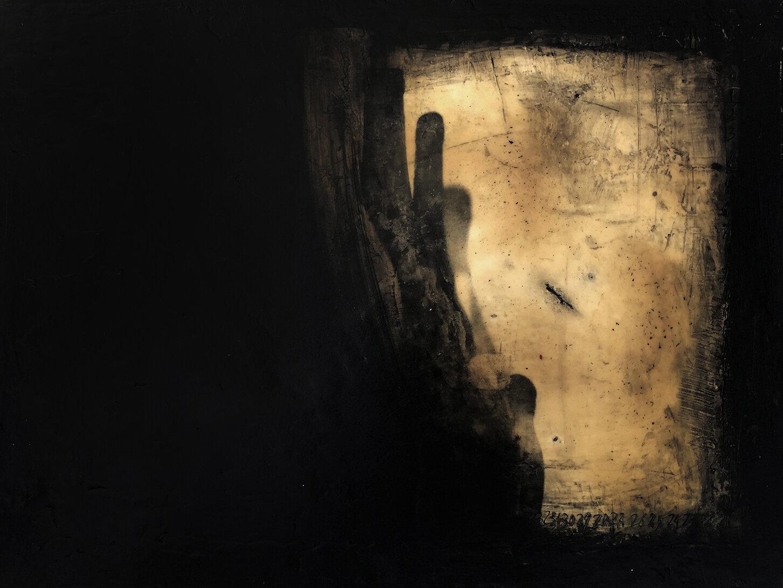 Virgilio Rospigliosi. Struttura metallica (Archetipi Psichici Visivi). 1996©. Cm 35x80, acrilico e cera su alluminio.jpg