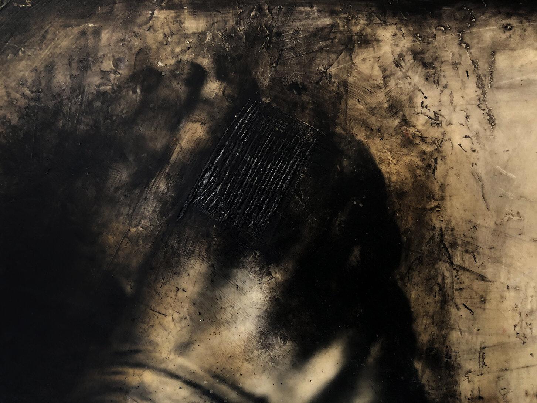 Virgilio Rospigliosi. Studio anatomico su un muro bianco (Archetipi Psichici Visivi). 1996©. Cm 35x45, acrilico e cera su fotografia analogica. Dettaglio.jpg