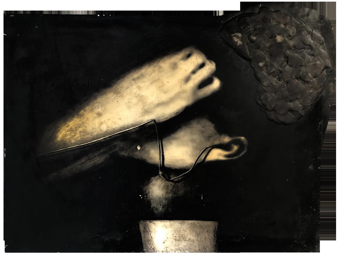 Virgilio Rospigliosi. Studio sulla concentrazione (Archetipi Psichici Visivi). 1996©. Cm 33x46, acrilico e cera su carta fotografica applicata ad alluminio.png