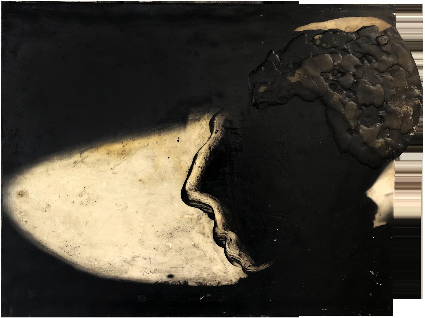 Virgilio Rospigliosi. Paesaggio di profilo (Archetipi Psichici Visivi). 1995©. Cm 35x46, acrilico e cera su alluminio.png