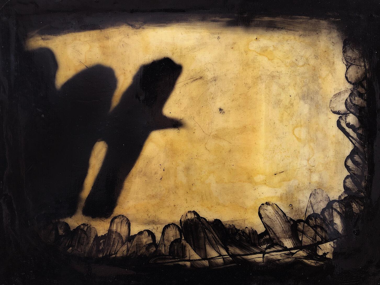 Virgilio Rospigliosi. Studio per canneto (Archetipi Psichici Visivi). 1996©. Cm 23x36, acrilico e cera su fotografia analogica.jpg