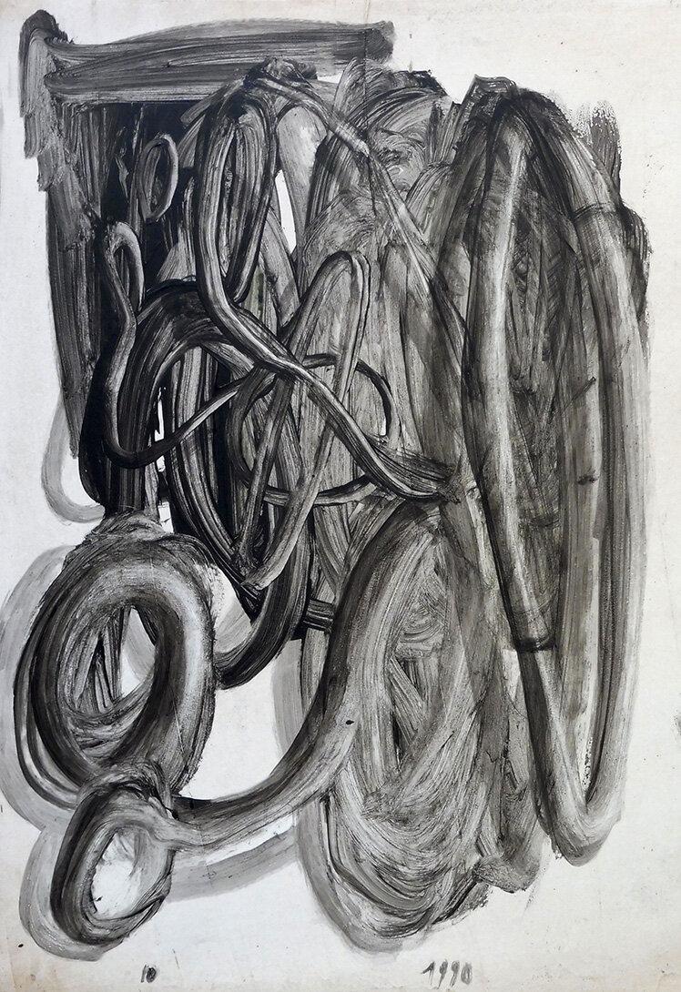 Virgilio RospigliosiStudio per radici. 1990. Cm 70x50, acrilico su tavola.jpg