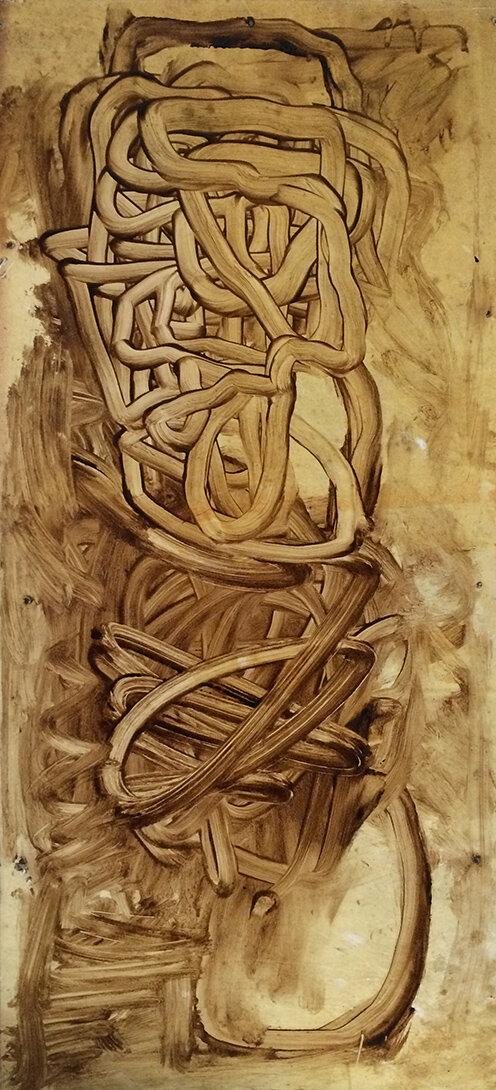 Virgilio Rospigliosi. Studio anatomico. 1989©. Cm 75x35, acrilico e olio su alluminio.jpg