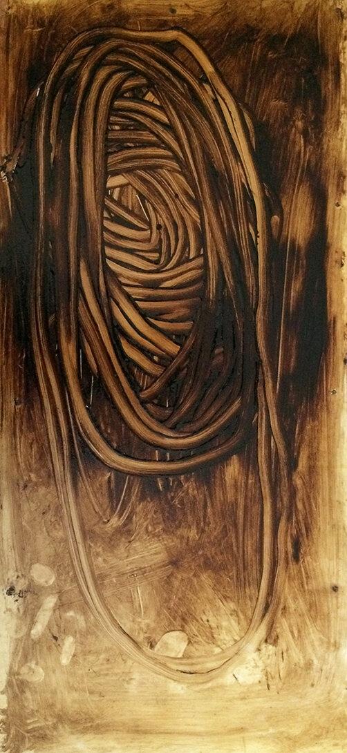 Virgilio Rospigliosi. Studio anatomico. 1990©. Cm 75x35, acrilico e olio su legno.jpg