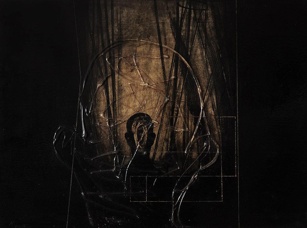 Proiezione in un canneto. 1998. Cm 30x40, acrilico e colla su formica..jpg