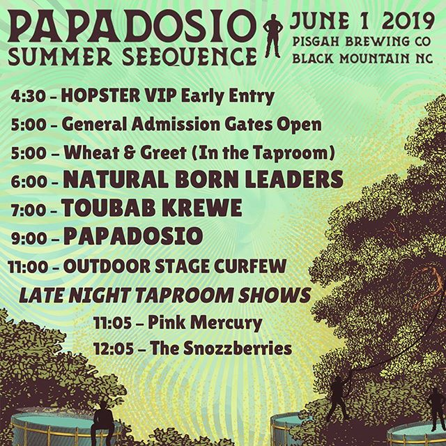 TONIGHT!!! ☀️ Incredibly stoked to be a part of @papadosio epic #summerseequence at @pisgahbrewing !!! See y'all soon!!! ☀️ @toubabkrewe @naturalbornleadersband @pinkmercurymusic 👃🍓🤪 #thesnozzberries #thesnozzberriestastelikesnozzberries #latenightmusic #papadosio #pisgahbrewing #ashevillemusic #toubabkrewe #naturalbornleaders #pinkmercury #psychedelicrock #jamband #festivalmusic #popadoseyo #goseelivemusic