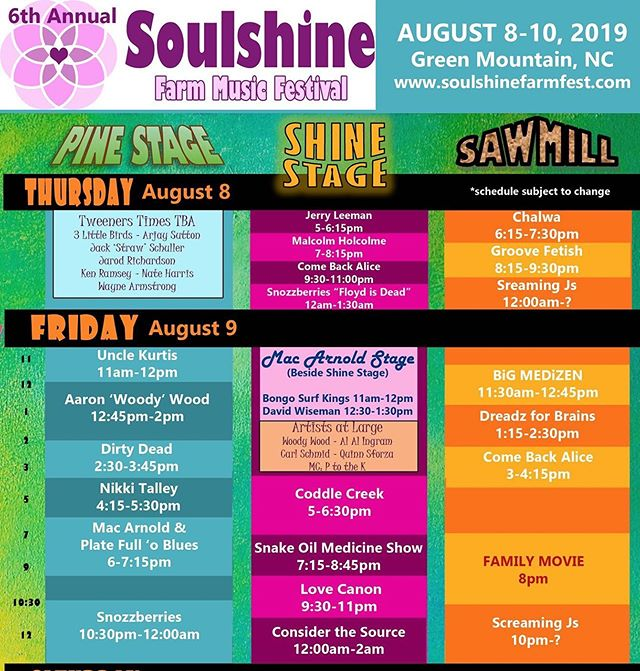☀️ We are so incredibly excited for @soulshinefarmfest next week!!! ☀️We will be closing out the main stage Thursday night with a very special Floyd Is Dead set, and Friday we close out the Pine stage with a psychedelic original set featuring trippy visuals and performances from our friends @lunar_elements !!! See you all soon... 👃🍓#snozzberries #thesnozzberries #soulshine #soulshinefarmfest #soulshine2019 #ashevillemusic #asheville #psychedelicrock #funkband #trippymusic #psychedelic #goseelivemusic