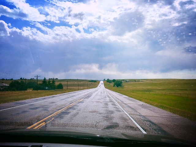 The open road… somewhere in Kansas (maybe).
