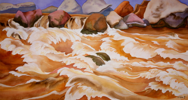 "Bottoms Up — 33""x18"" watercolor — $3200"