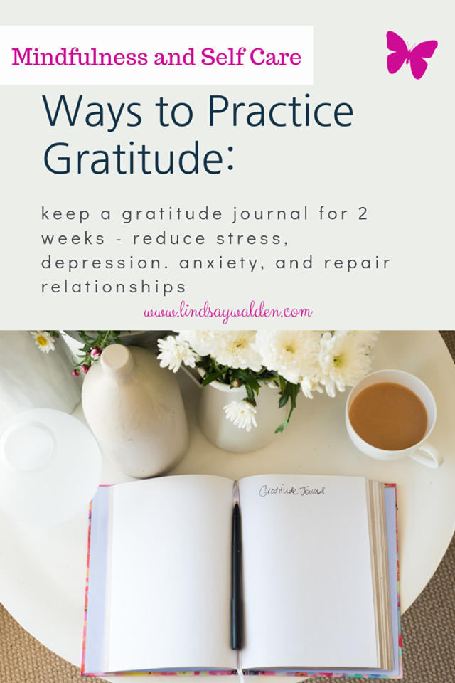 Keeping a gratitude journal for 2 weeks can help reduce feels of stress, anxiety and depression.