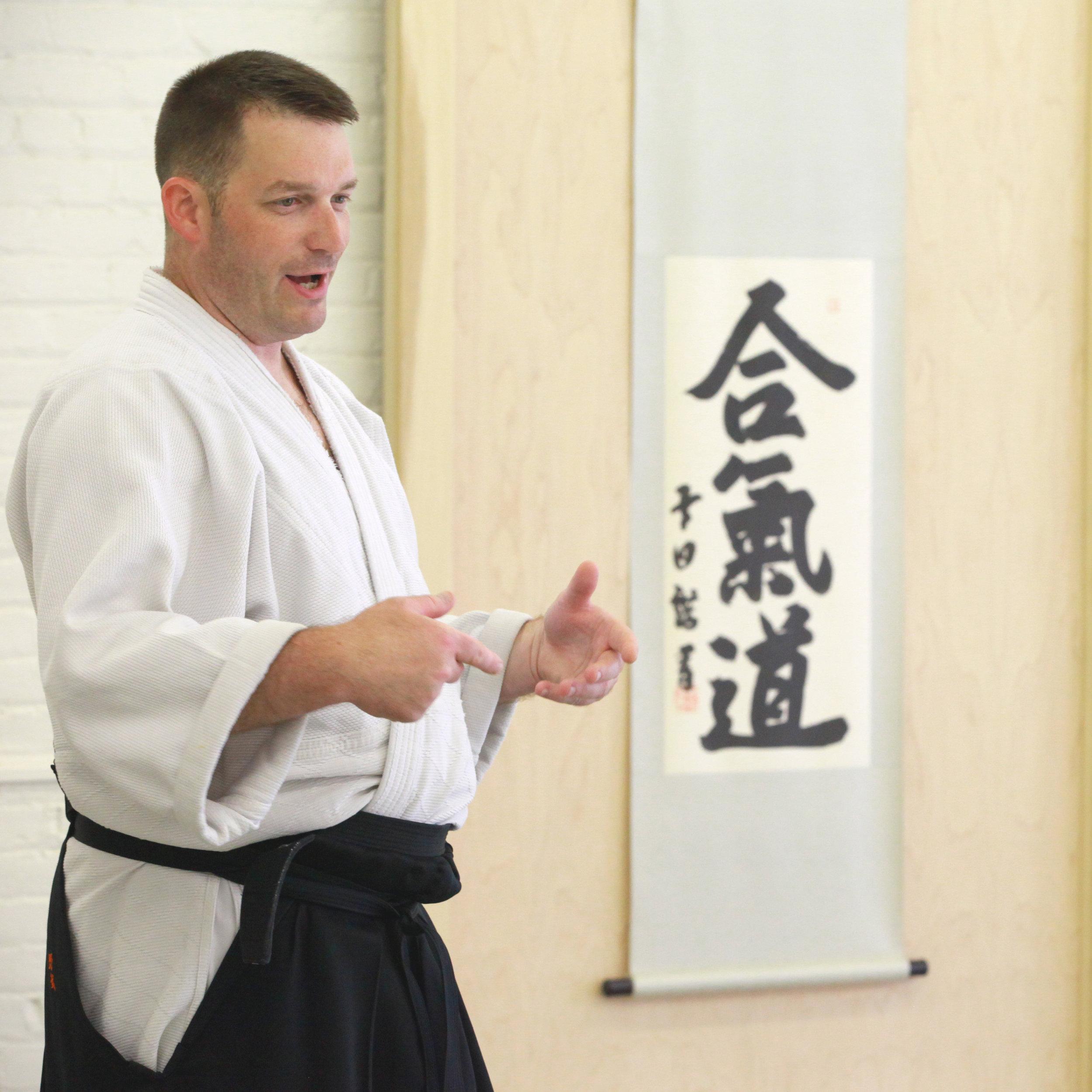 Noble Sensei teaching at an Aikido workshop in Brooklyn, New York