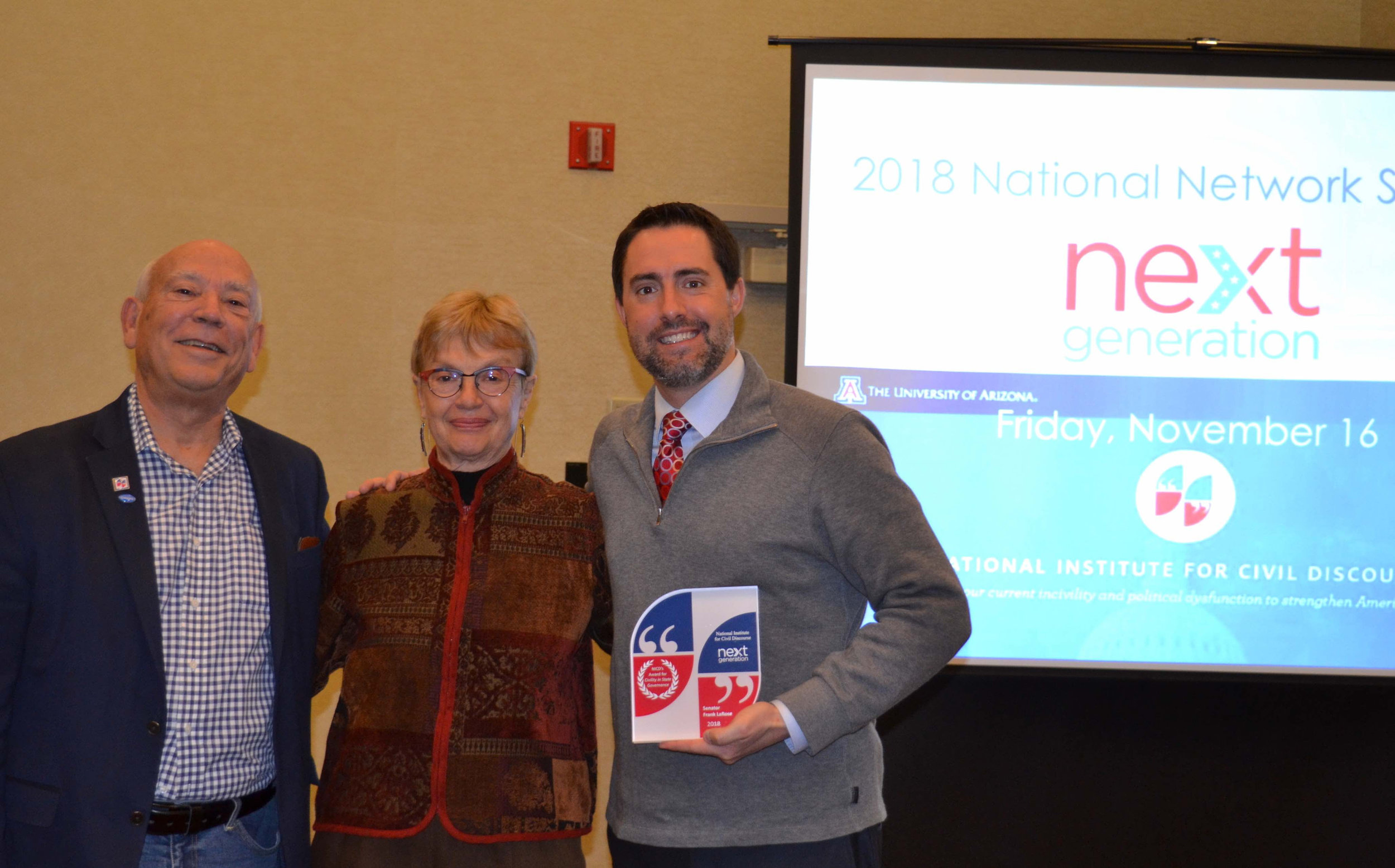Senator Frank LaRose was presented the 2018 Award in Civility in State Governance at The National Institute for Civil Discourse National Summit held in Columbus.