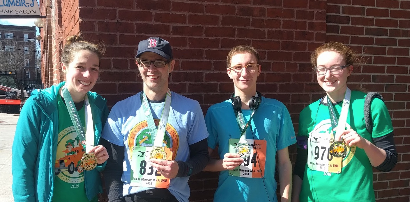 Lab members run annual 5K - On Sunday, March 11th, four lab members represented the Kahne lab in the Rás na hÉireann USA 5K race. Lab administrator Mike Quinn and graduate students Mary May, Aurelio Mollo, and Becca Taylor all participated in this annual tradition celebrating the area's Irish heritage and the start of spring. Several other labs from the Department of Chemistry and Chemical Biology also fielded teams for this event and the Kahne lab team earned the second highest score among CCB teams. You can read more about the Rás na hÉireann USA 5K here.Congratulations to Mary, Mike, Aurelio, and Becca!