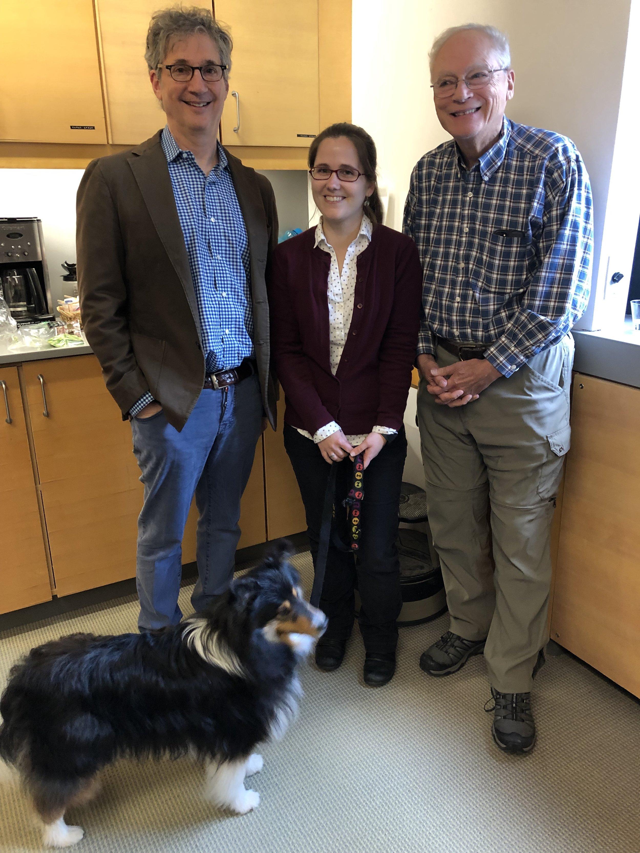 Back row: Emma Nagy with advisors Dan Kahne and Rich Losick  Front row: Nali the dog