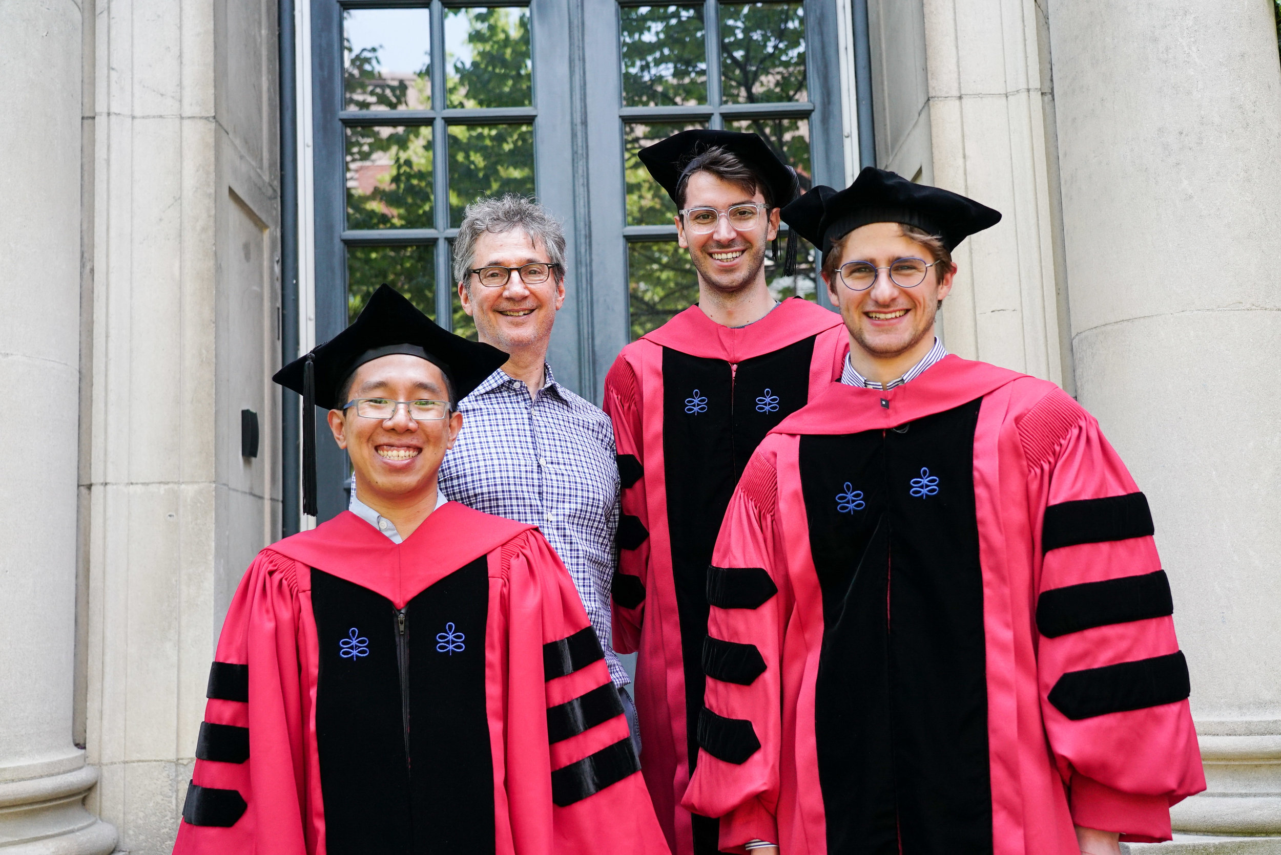 Congratulations to our recent graduates! - Six members of the Kahne lab have graduated during the 2018-2019 academic year. Congratulations to all!Recipients of the Doctor of PhilosophyEmma Nagy, Molecular and Cellular BiologyTristan Owens, Chemical BiologyFred Rubino, ChemistryVeerasak (Jeep) Srisuknimit, ChemistryGe Zhang, ChemistryRecipient of the Bachelor of ArtsSerena Hoost, Molecular and Cellular Biology