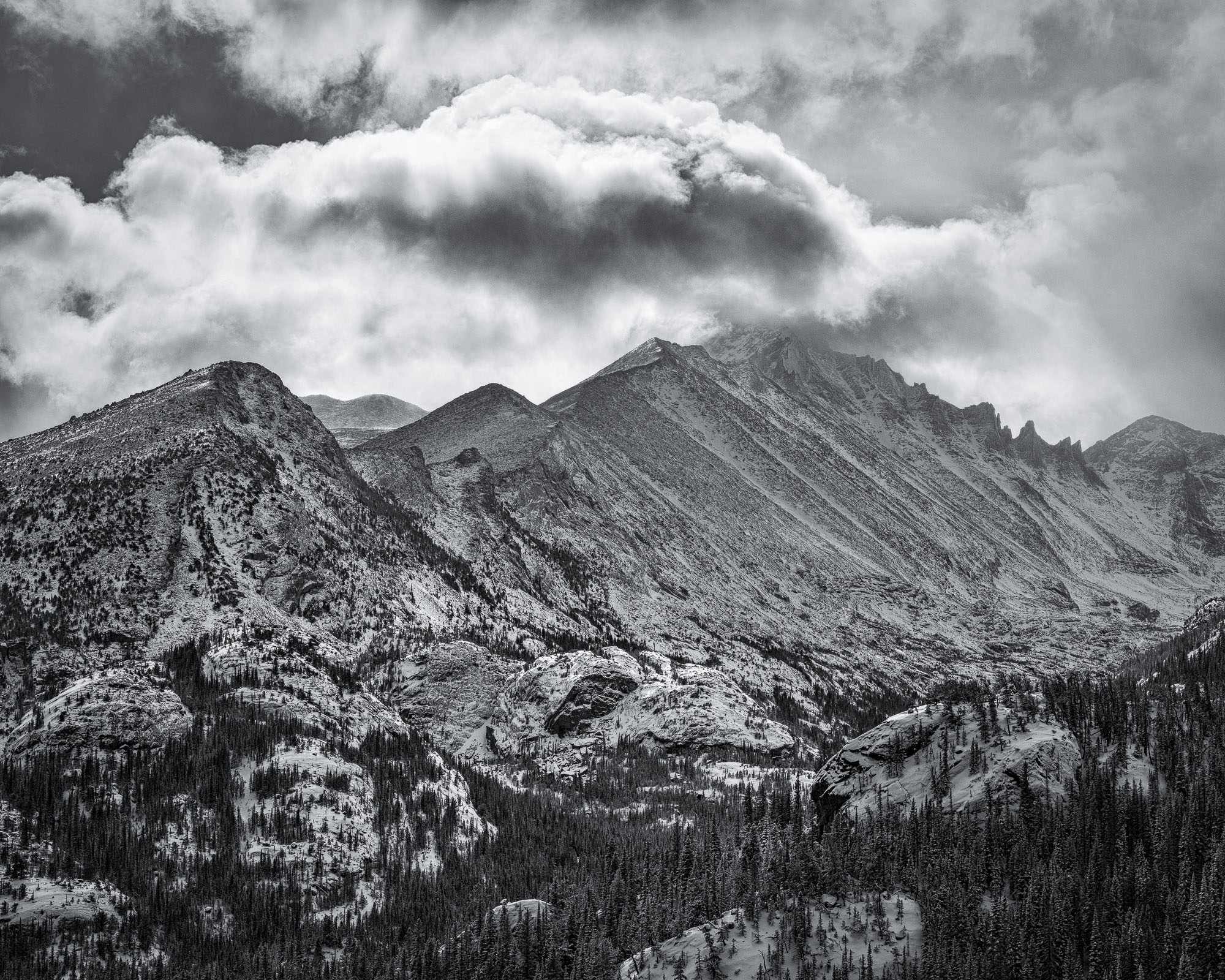 a grayscale version of a classic viewpoint of long's peak in rocky mountain national park