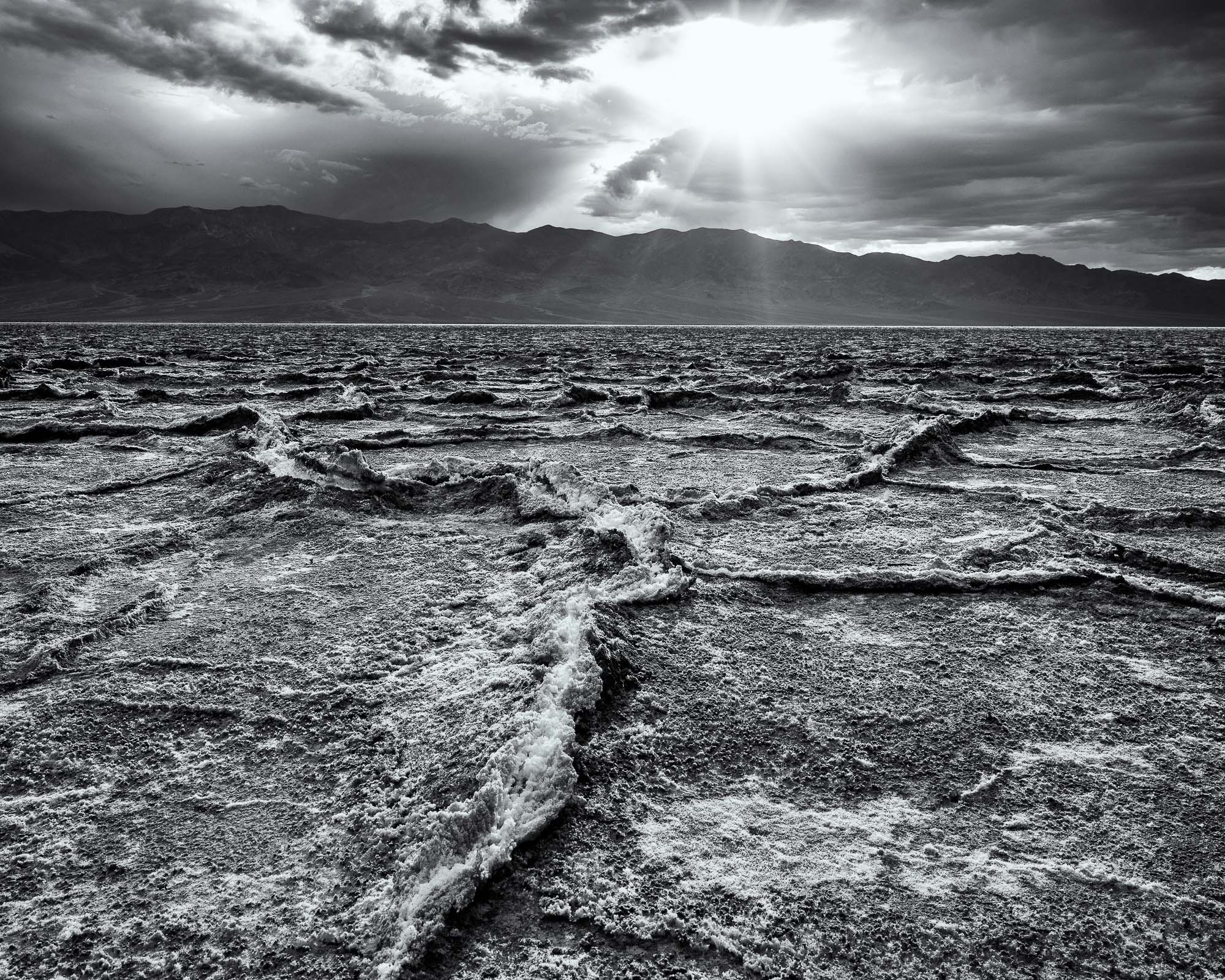 death valley national park - rolling clouds over badwater