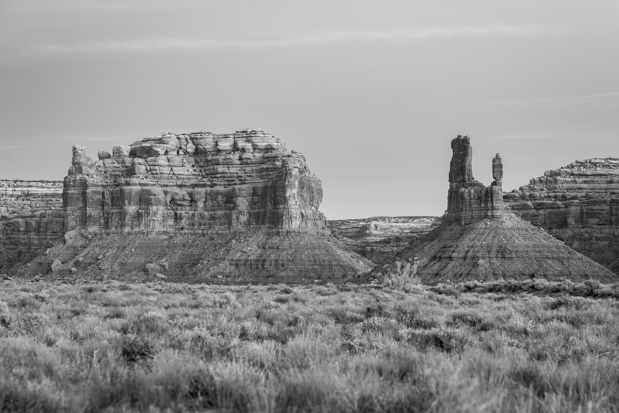 bears ears buttes - black and white, no filter.  not really a very interesting image at this point.