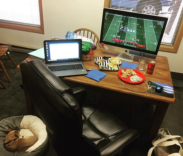 Sometimes you gotta do whatcha gotta do. #attorneylife #bosslady #lawfirm #lawlife #briefdue #vacationprep #solopractice #putyourheelstothepavement #justicesuitsyoubest #football #superbowl #gopats #officedog #lifeisgood #spinachdip #nachos #pizzarolls #m&ms #coke