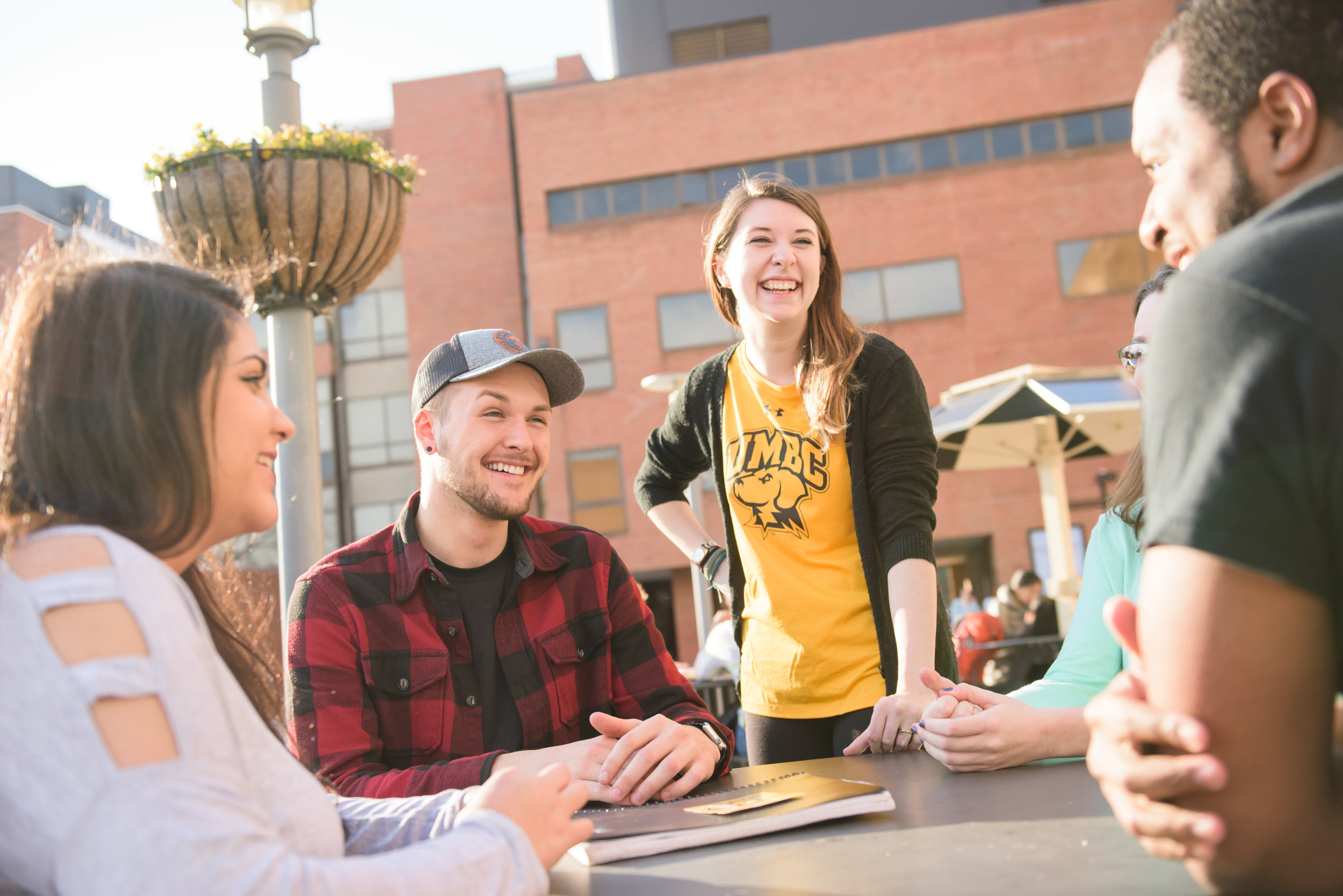 Students talking on The Commons Terrace