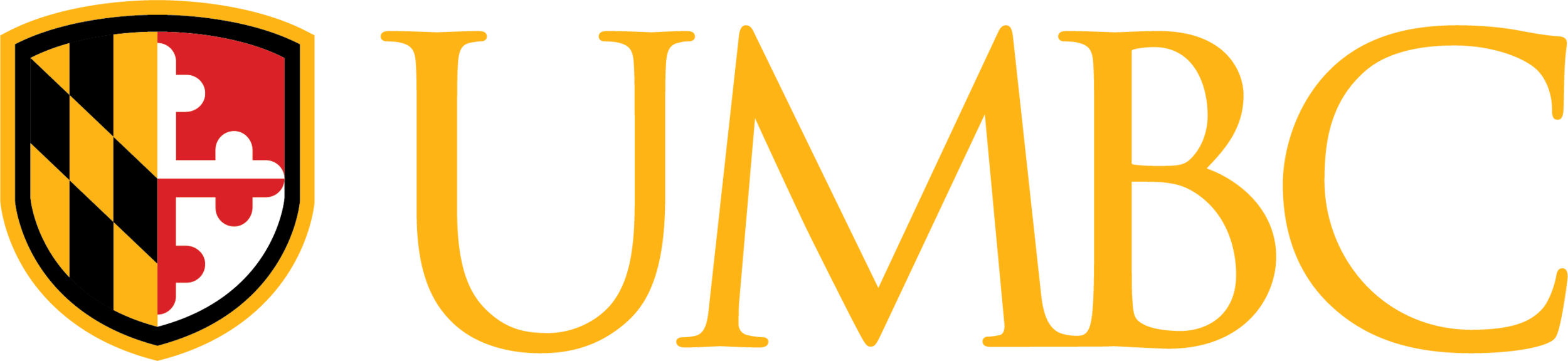 UMBC Shield Logo with Gold Type