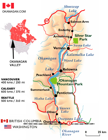 Located in British Columbia, Okanagan Valley is known for its wineries and fruit orchards.