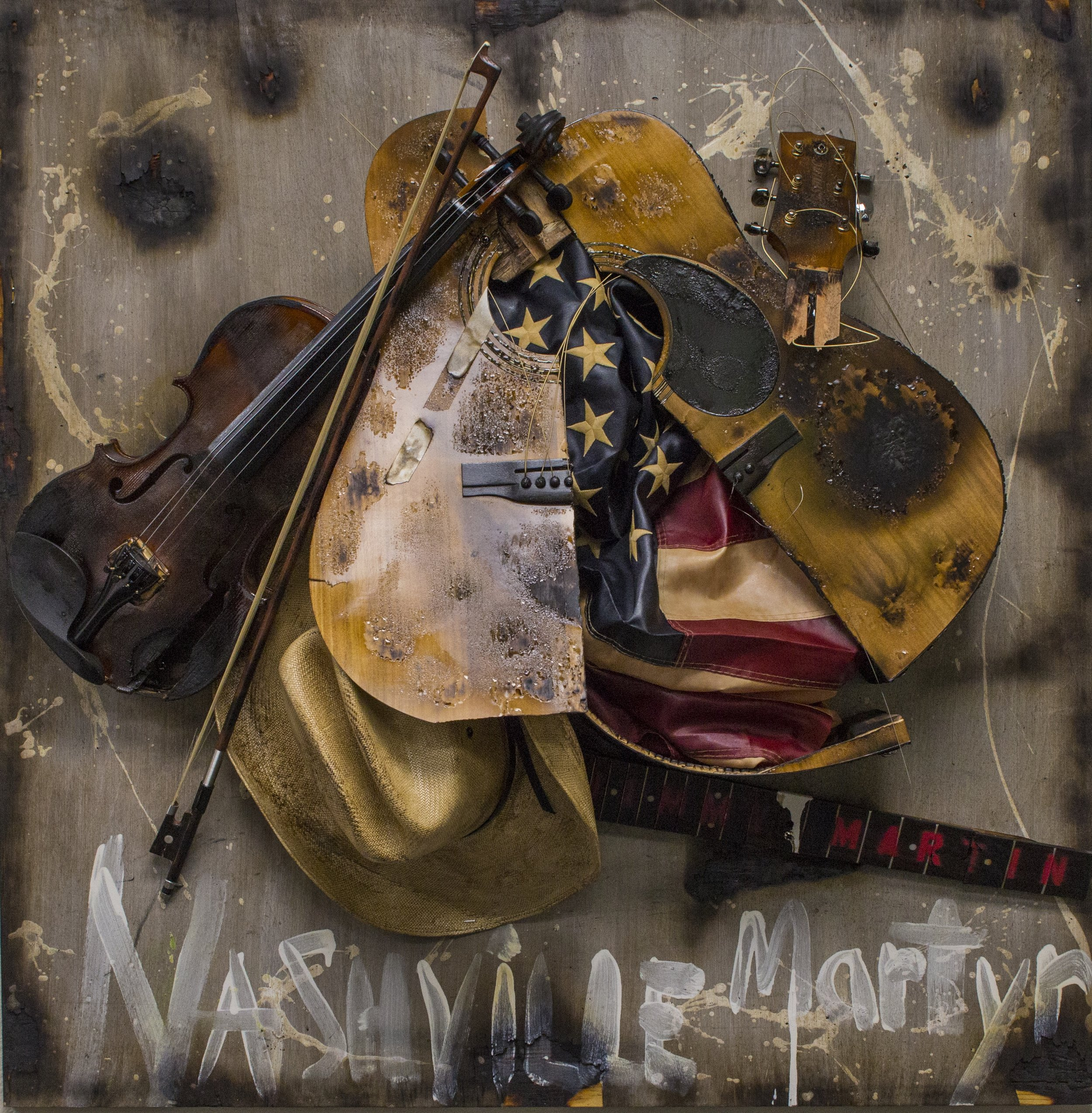 """Jimmy Martin Nashville Martyr"" by Bernie Taupin, a piece from the ""True American"" exhibition on display at Chase Contemporary in New York City."