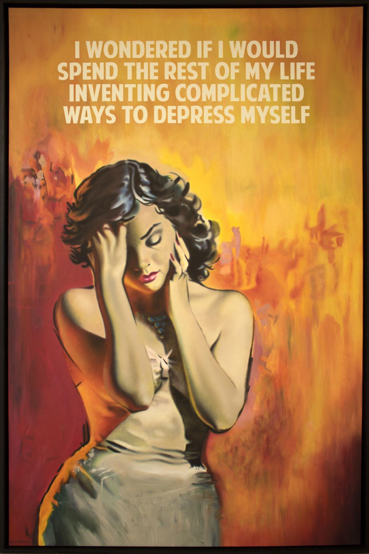 "Depress Myself, 2018. Oil on canvas. 72 3/4 x 45 1/4"""