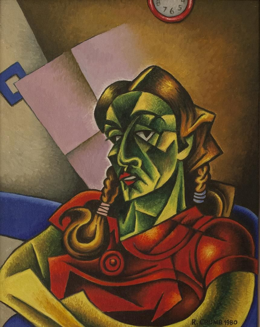 """Green Girl, 1980. Oil Paint on Canvas. 20 x 16""""."""