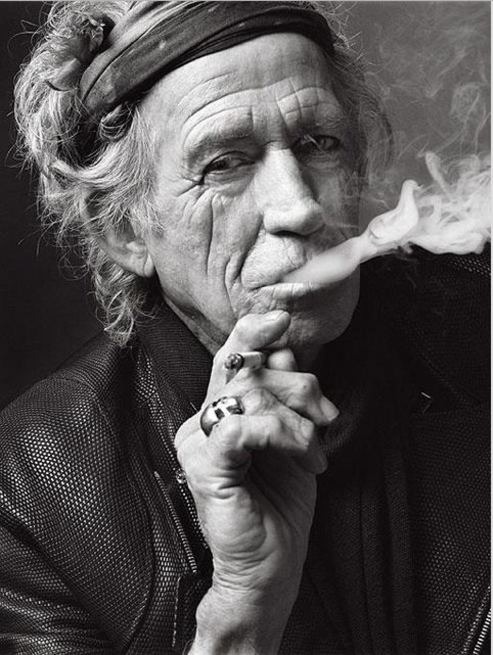 "Keith Richards, New York, NY, 2011. Gelatin Silver Print. 50 x 60""."