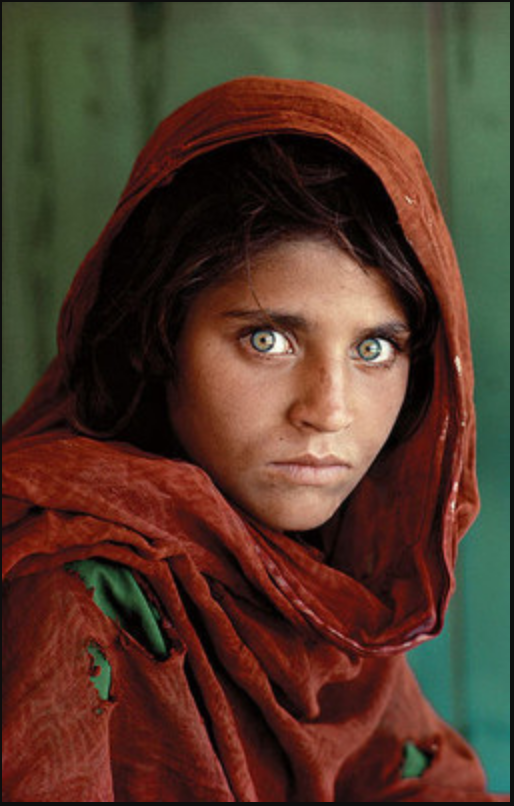 "Sharbat Gula (Afghan Girl), 1994. Digital C print. 39"" x 26""."