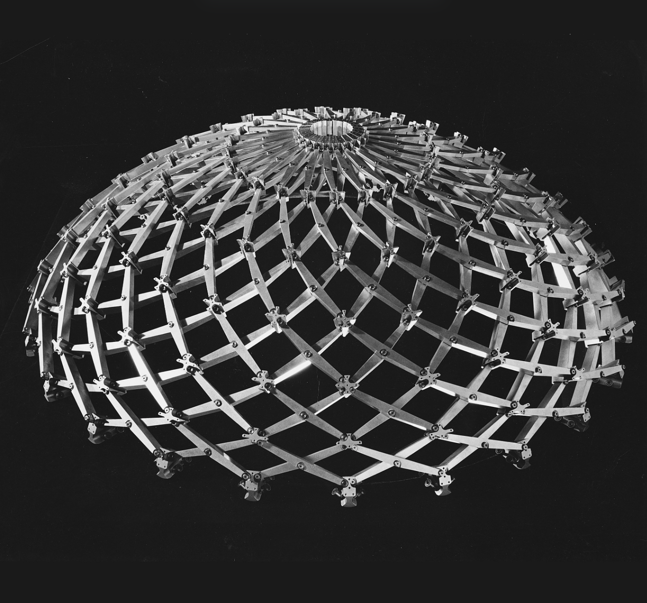 "Iris Dome, 1994. Anodized aluminium, stainless steel, transparent acrylic. 20 x 48 x 48""."