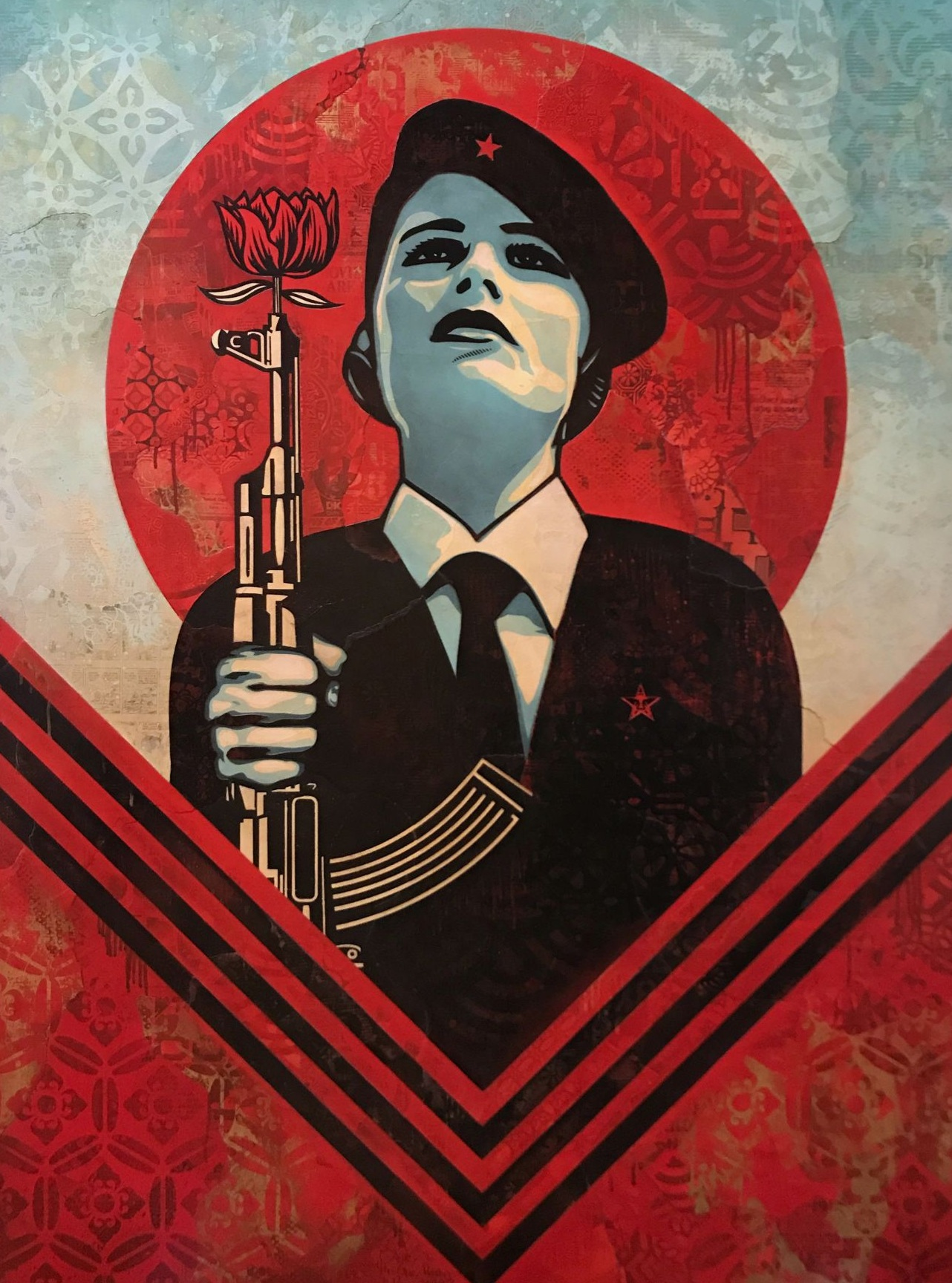 "Shepard Fairey,  Peace Guard 2, 2016.  Mixed media on canvas. 60 x 44""."