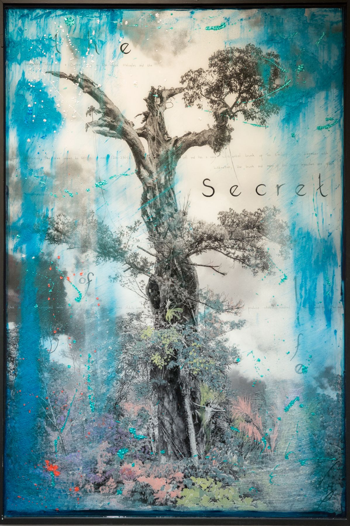 Secret of Life, 2017 Archival print, acrylic paint and pigment encased in resin 60 x 40""