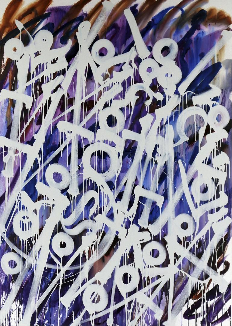 "Retna Symphony Chelo 1, 2015 Enamel and Acrylic on canvas 84"" x 60"""
