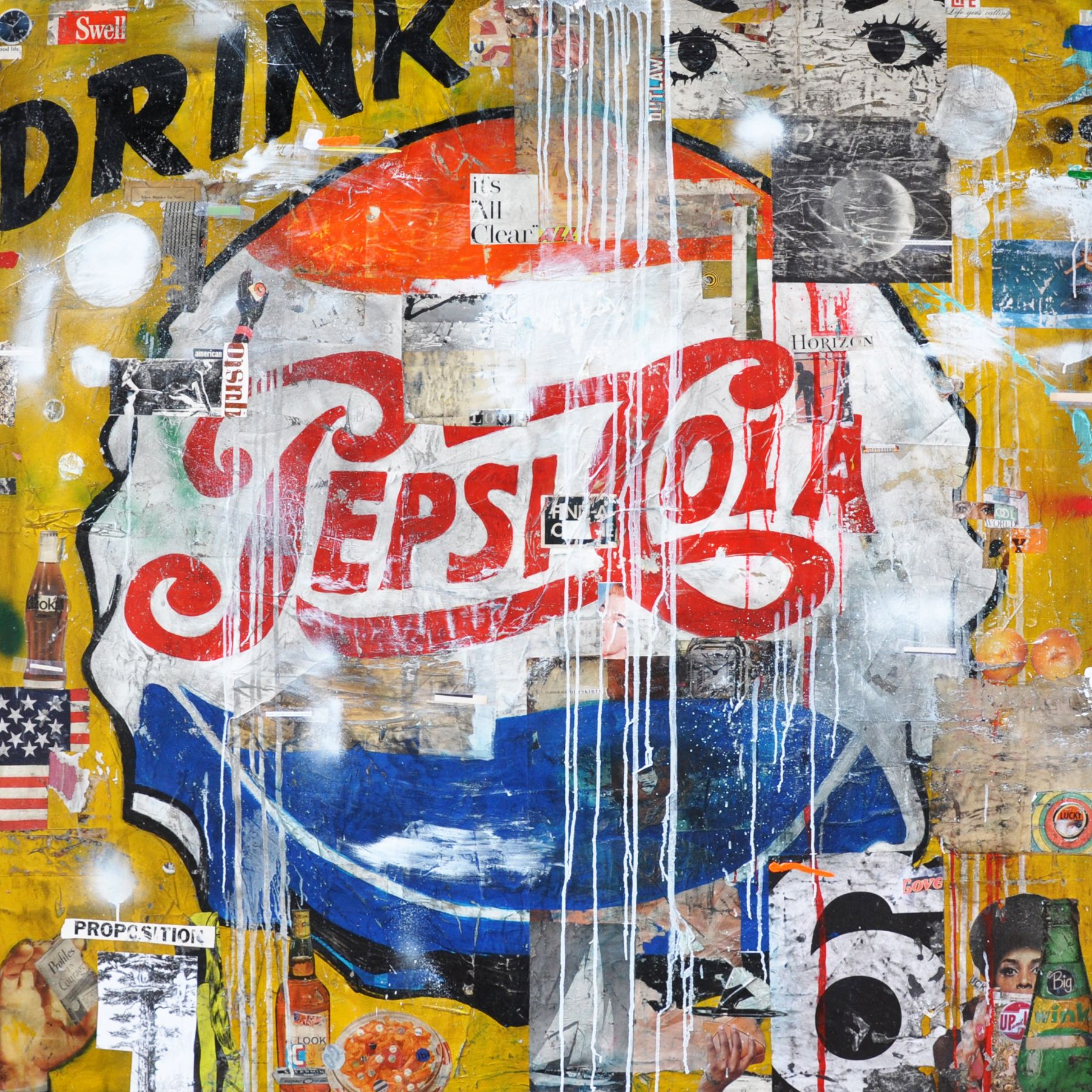 """Drink Pepsi, 2019. Acrylic, Collage Paper, and Resin on Panel. 60 x 60""""."""