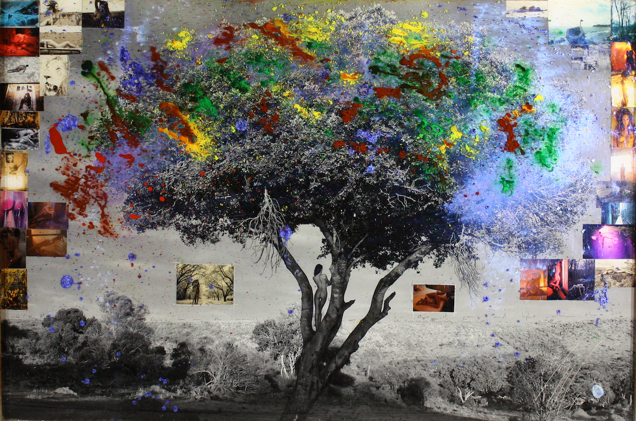 "Africa, Kenya, 2015 Archival print, ink, acrylic paint, collage, encased in resin. 40 x 60""."